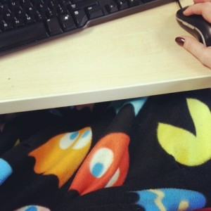 The office area I'm in at the FSU library can get quite cold. My pac-man blanket is a wonderful fix for the problem!