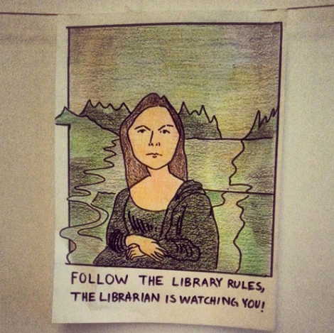 A former librarian or library assistant drew up some fantastic signs in the library. J